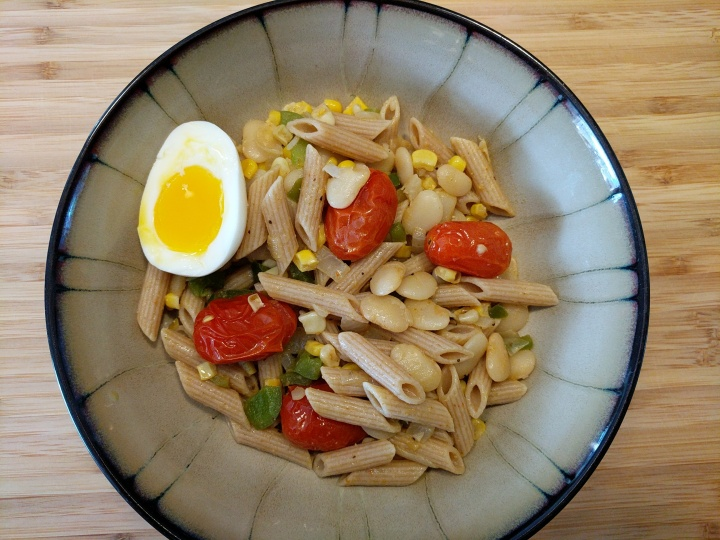 Succotash Penne with Blistered Tomatoes and Soft-Boiled Eggs